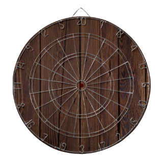 Rustic Dark Brown Wood Wooden Fence Country Style Dartboard