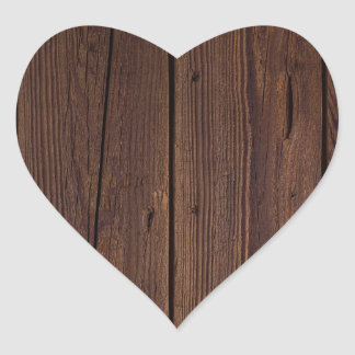 Rustic Dark Brown Wood Wooden Fence Country Style Heart Sticker
