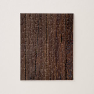 Rustic Dark Brown Wood Wooden Fence Country Style Jigsaw Puzzle
