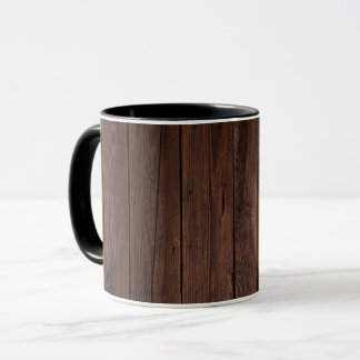Rustic Dark Brown Wood Wooden Fence Country Style Mug