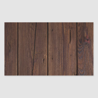Rustic Dark Brown Wood Wooden Fence Country Style Rectangular Sticker