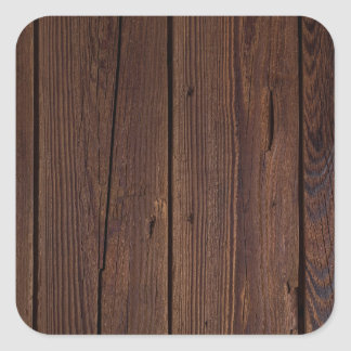 Rustic Dark Brown Wood Wooden Fence Country Style Square Sticker
