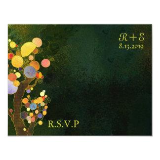 Rustic Dark Green Country Wedding RSVP Card