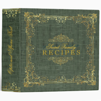 Rustic Dark Green With Gold Frame 4 3 Ring Binder
