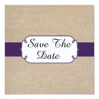 Rustic Dark Purple and Beige Burlap Save The Date Card