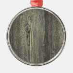 Rustic Dark Weathered Wood Background Christmas Tree Ornament
