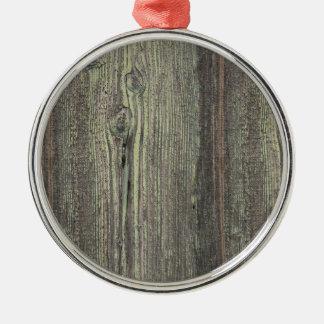 Rustic Dark Weathered Wood Background Round Metal Christmas Ornament