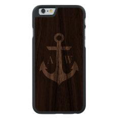 Rustic Dark Wood Anchor Monogrammed Case at Zazzle