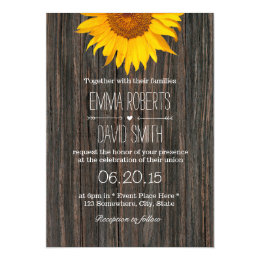 Rustic Dark Wood Background Sunflower Wedding Card