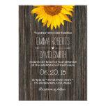 Rustic Dark Wood Background Sunflower Wedding 5x7 Paper Invitation Card