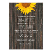 Rustic Dark Wood Background Sunflower Wedding 5x7 Paper Invitation Card (<em>$2.00</em>)