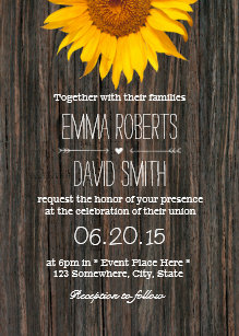 Rustic Dark Wood Background Sunflower Wedding Invitation