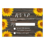 Rustic Dark Wood Background Sunflower Wedding RSVP 3.5x5 Paper Invitation Card