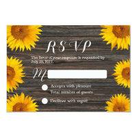Rustic Dark Wood Background Sunflower Wedding RSVP 3.5x5 Paper Invitation Card (<em>$1.96</em>)