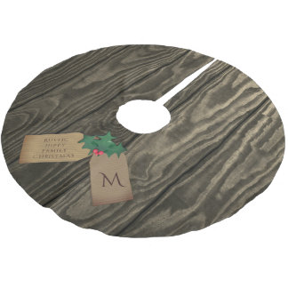 Rustic Dark Wood Grain Hippy Christmas Tree Skirt