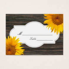 Rustic Dark Wood & Sunflower Wedding Place/seating Business Card at Zazzle