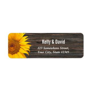 Rustic Dark Wood Sunflower Wedding Return Address Label
