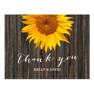 Rustic Dark Wood & Sunflower Wedding Thank You Postcard