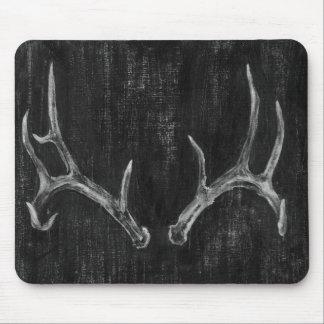 Rustic Deer Animal Head on Chalkboard Mouse Pad