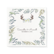 RUSTIC Deer Antler and Greenery, Blue Paper Napkin