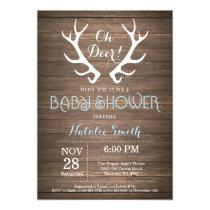 Rustic Deer Antler Baby Shower Invitation Blue