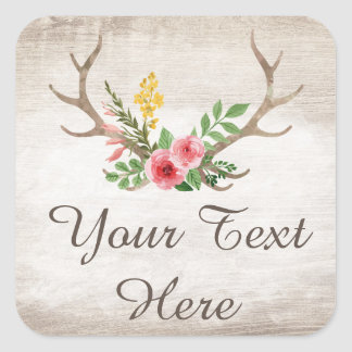 Rustic Deer Antler Bohemian Floral Custom Square Sticker