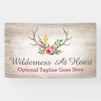 Rustic Deer Antler Bohemian Floral Watercolor Banner