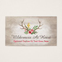 Rustic Deer Antler Bohemian Floral Watercolor Business Card