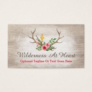 Rustic Deer Antler Bohemian Floral Watercolor Business Card