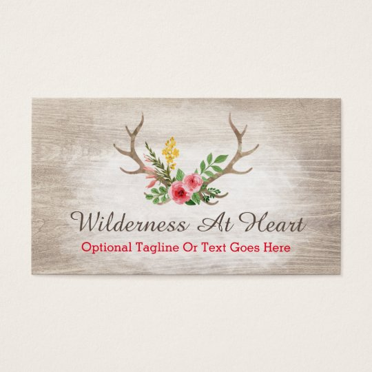 Rustic Deer Antler Bohemian Floral Watercolor Business Card   Zazzle