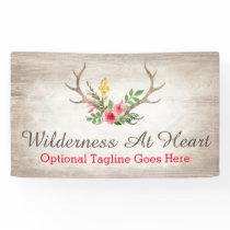 Rustic Deer Antler Bohemian Floral Watercolor Wood Banner