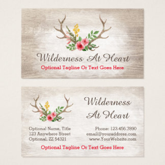 Rustic Deer Antler Bohemian Floral Watercolor Wood Business Card