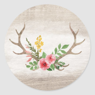 Rustic Deer Antler Bohemian Floral Watercolor Wood Classic Round Sticker