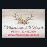 "Rustic Deer Antler Bohemian Floral Watercolor Wood Yard Sign<br><div class=""desc"">Beautifully feminine, trendy boho chic! This business branding design features realistic watercolor styling on colorful roses. Elegantly rustic undertones with light wood texture background. A fresh face for your handmade or vintage boutique! • Customize it! Click the &quot;Customize&quot; button to change fonts, sizing and layout. • Browse the Wilderness At...</div>"
