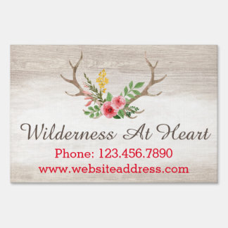 Rustic Deer Antler Bohemian Floral Watercolor Wood Yard Sign
