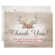 Rustic Deer Antler Bohemian Floral Wood Thank You Card