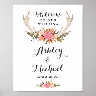 Rustic Deer Antler Floral Wedding Reception Sign
