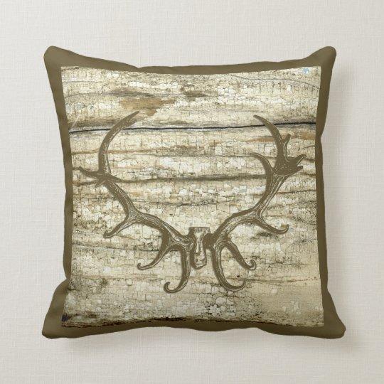 Rustic Deer Antler Hunting Theme Retro Art Stag Throw Pillow