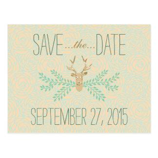 Rustic Deer Antler SAVE THE DATE Wedding Postcard