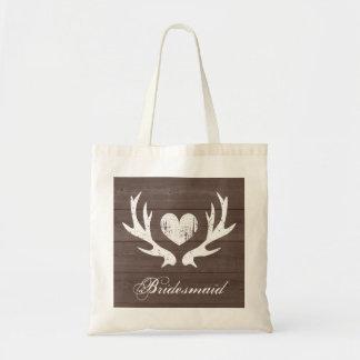 Rustic deer antler wedding bridesmaid tote bag
