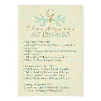 "Rustic Deer Antler Wedding WEEKEND ITINERARY Card 5"" X 7"" Invitation Card"
