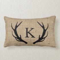 Rustic Deer Antler with Monogram Faux Burlap Lumbar Pillow