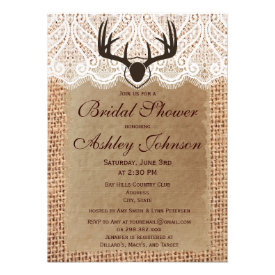 Rustic Deer Antlers Bridal Shower Invitations Personalized Announcement