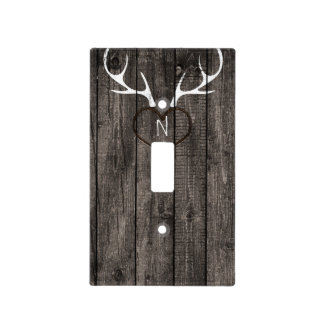Rustic Deer Antlers & Carved Heart Country Light Switch Cover