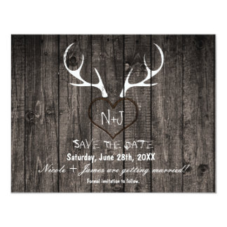 Rustic Deer Antlers & Carved Heart Save The Date Card