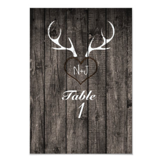 Rustic Deer Antlers & Carved Heart Table Number
