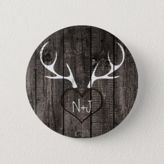 Rustic Deer Antlers & Carved Heart Wedding Button