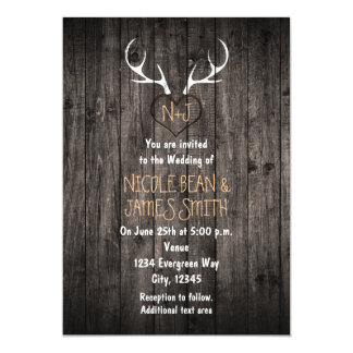 Rustic Deer Antlers & Carved Heart Wedding Card