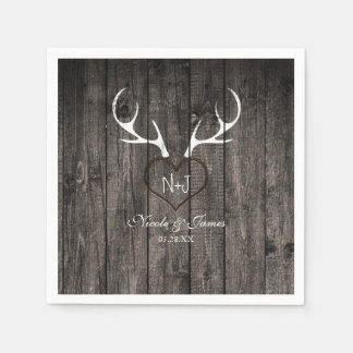 Rustic Deer Antlers & Carved Heart Wedding Napkins