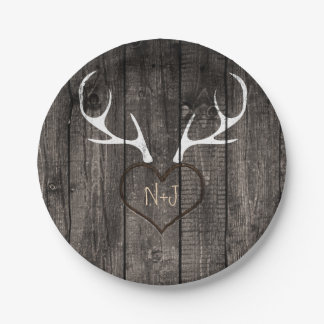 Rustic Deer Antlers & Carved Heart Wedding Paper Plate